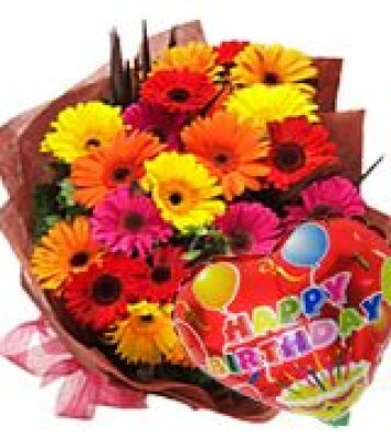 30 Gerberas And Happy Birthday
